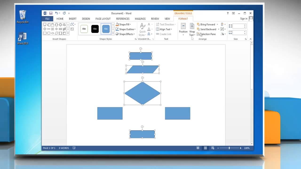 Make a Flow Chart in Microsoft Word 2013  YouTube
