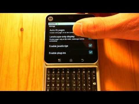 Motorola Flipout Browser Settings