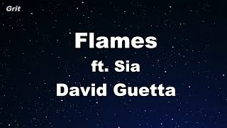 Flames - David Guetta & Sia Karaoke 【No Guide Melody】 Instrumental Video