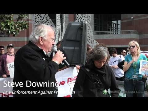 LEAP's Stephen Downing and Diane Goldstein Speak at the L A  Federal Building Medical Marijuana Rally