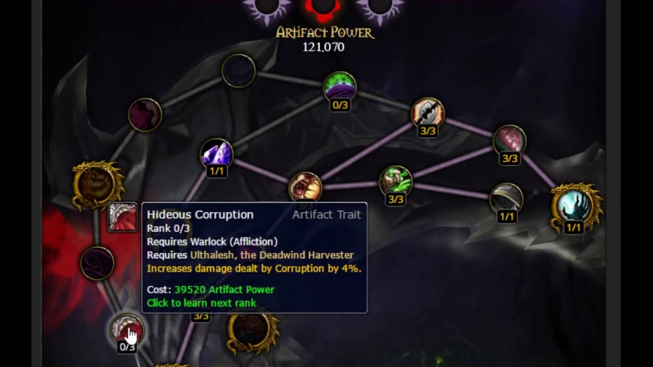 Affliction warlock artifact weapon: ulthalesh, the deadwind.