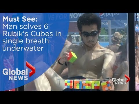 (คลิป) หนุ่มจอร์เจียวัย 18 ดำน้ำกลั้นหายใจก่อนแก้รูบิค 6 ลูก เวลา 1.44 นาที ทำลายสถิติโลก