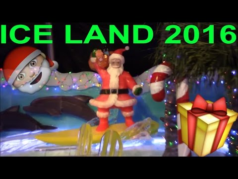 ICE LAND 2016 Moody Garden Ice Sculptures CARIBBEAN CHRISTMAS Ice Slide Fish Submarine Turtle Shark