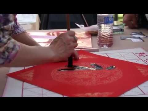 Calligraphy Artists Victoria and Henry Li at 2015 Lunar Year Celebration at Americana at Brand