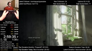 The Last of Us Speedrun World Record! (2:59:35) on Grounded mode (Glitchless)