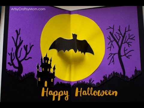 how to make a halloween bat pop up card diy pop up cards handmade card ideas artsycraftsymom