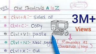 ctrl A to Z shortcut keys | CTRL Shortcut Keys of Computer