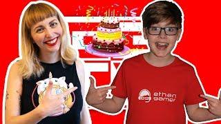 ENTREGA DE UN BIRTHDAY CAKE A ETHAN GAMERS ROBLOX PARTY