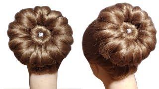 5 मिनट में घर पर ही बनाये 🙏 wedding Bun शादी पार्टी के लिए जुड़ा 🙏 Beautiful Bun Hairstyle