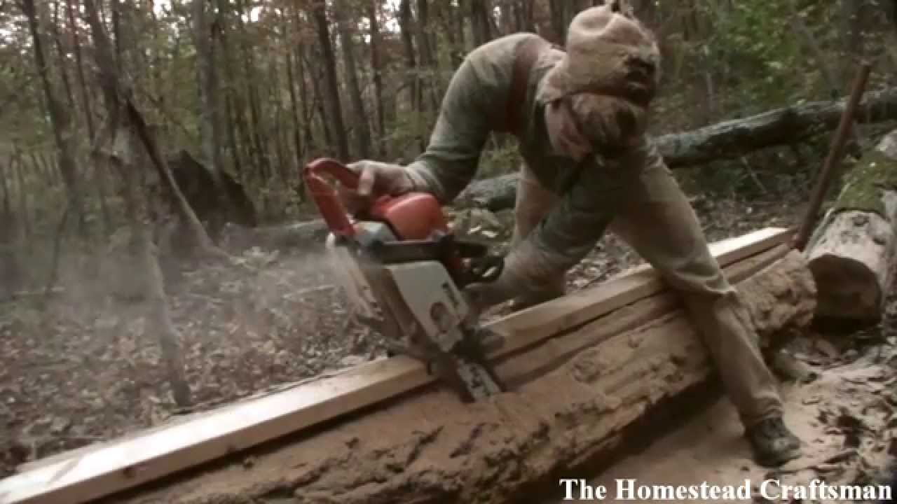 Cutting Lumber With A Chainsaw Reclaiming Fallen Trees