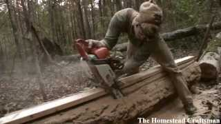 Cutting Lumber With A Chainsaw - Reclaiming Fallen Trees