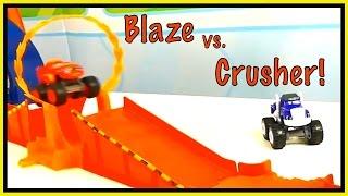 Monster Toy Trucks - WHO'S BEST? - Blaze vs. Crusher CRASHING Challenge!