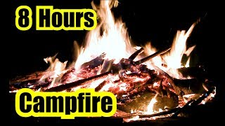 🌟 Night CAMPFIRE Sounds ~ 8 Hours of Relaxation