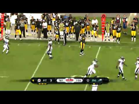 Big Hit by Eagles Cromartie on Steelers Leftwich