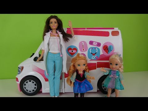 Elsa and Anna toddlers-Barbie's ambulance toy review