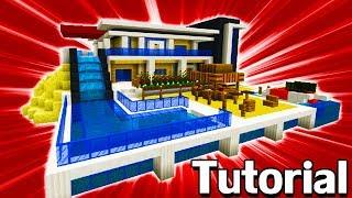 """Minecraft Tutorial: How To Make A Modern Beach Mansion """"Modern Mansion #8"""""""