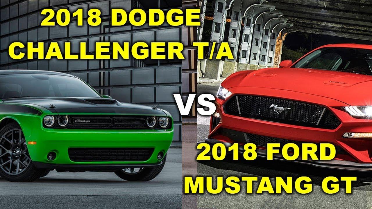 2018 dodge challenger ta vs ford mustang gt