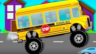 monster truck school bus   videos for children   videos for kids