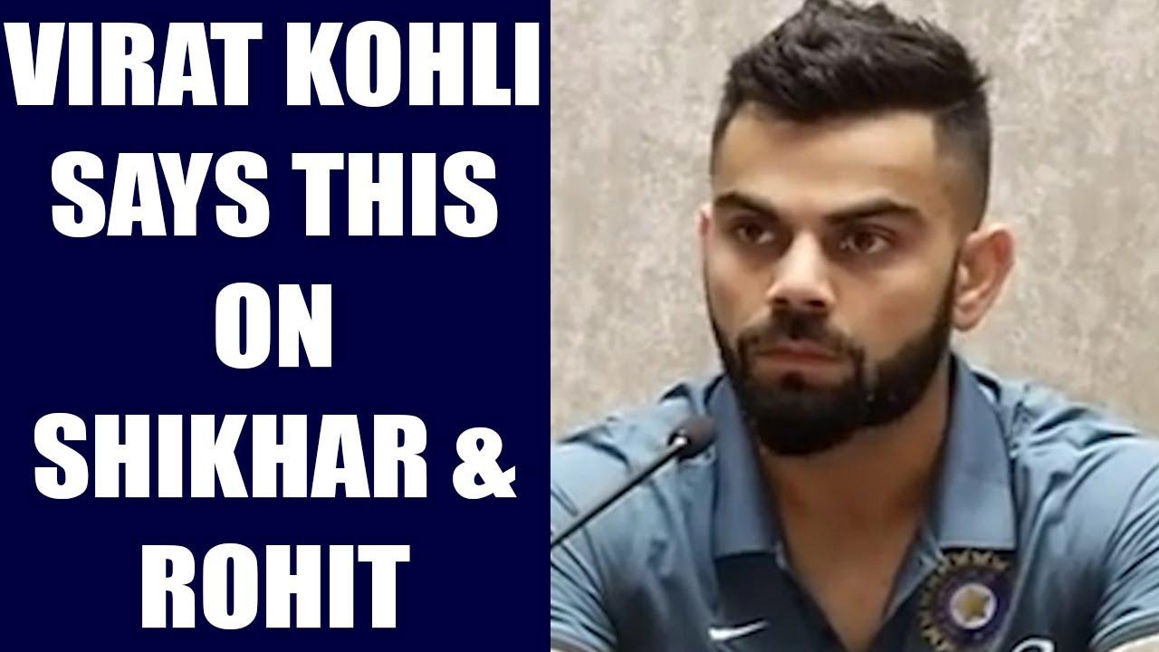 icc champions trophy: virat kohli praises shikhar dhawan, rohit