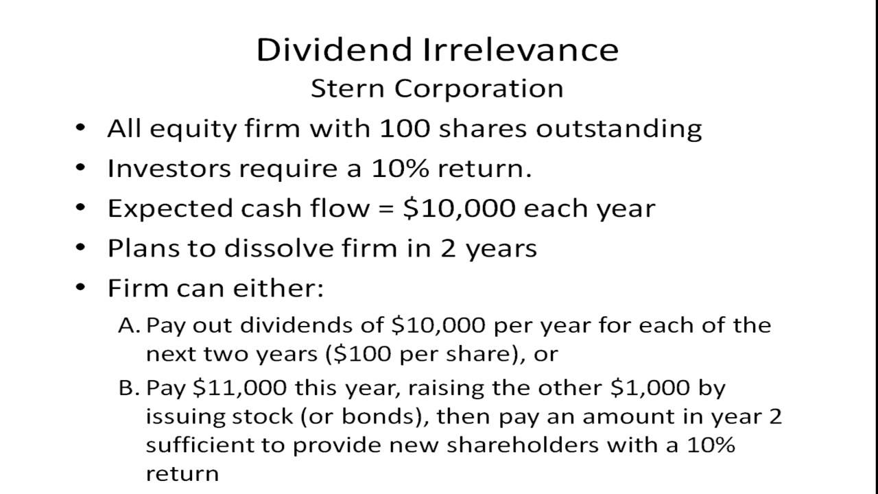 however modigliani and miller s dividend irrelevance theory indicates that there is no effect from d The impact of microeconomic variables on  the dividend irrelevance theory by modigliani and miller  have little to no effect on stock return however,.