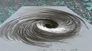 VORTEX IN THE WATER ✅ - Drawing 3D Whirlpool Illusion - By Vamos