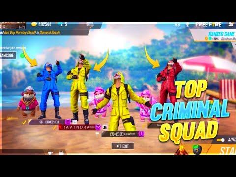 TOP CRIMINAL SQUAD GAMEPLAY || RANKED CRIMINAL SQUAD HIGHLIGHTS || FREE FIRE BATTLEGROUND