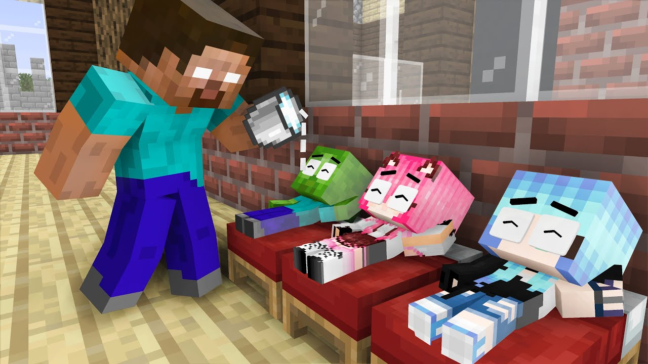 Download Monster School: Father Zombie become Bad and Little Daughter - Sad Story - Minecraft Animation