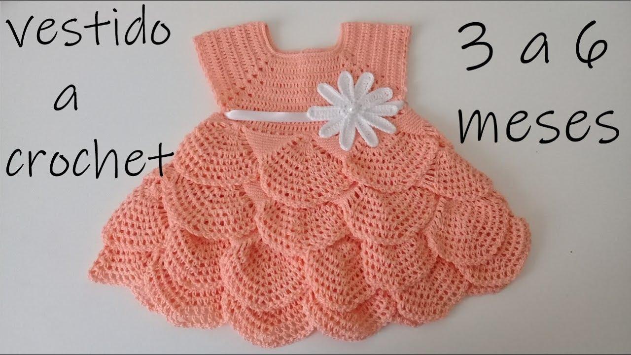 Como Tejer Un Vestido Para Bebe A Ganchillo Olanes Crochet 3 A 6 Meses