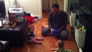 Baby laughs hysterically at bouncing ball!