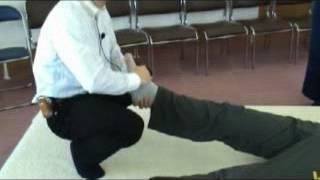 10.足関節等張整性運動/仰臥位」(足首に力が入らない、力を入れると痛む等)