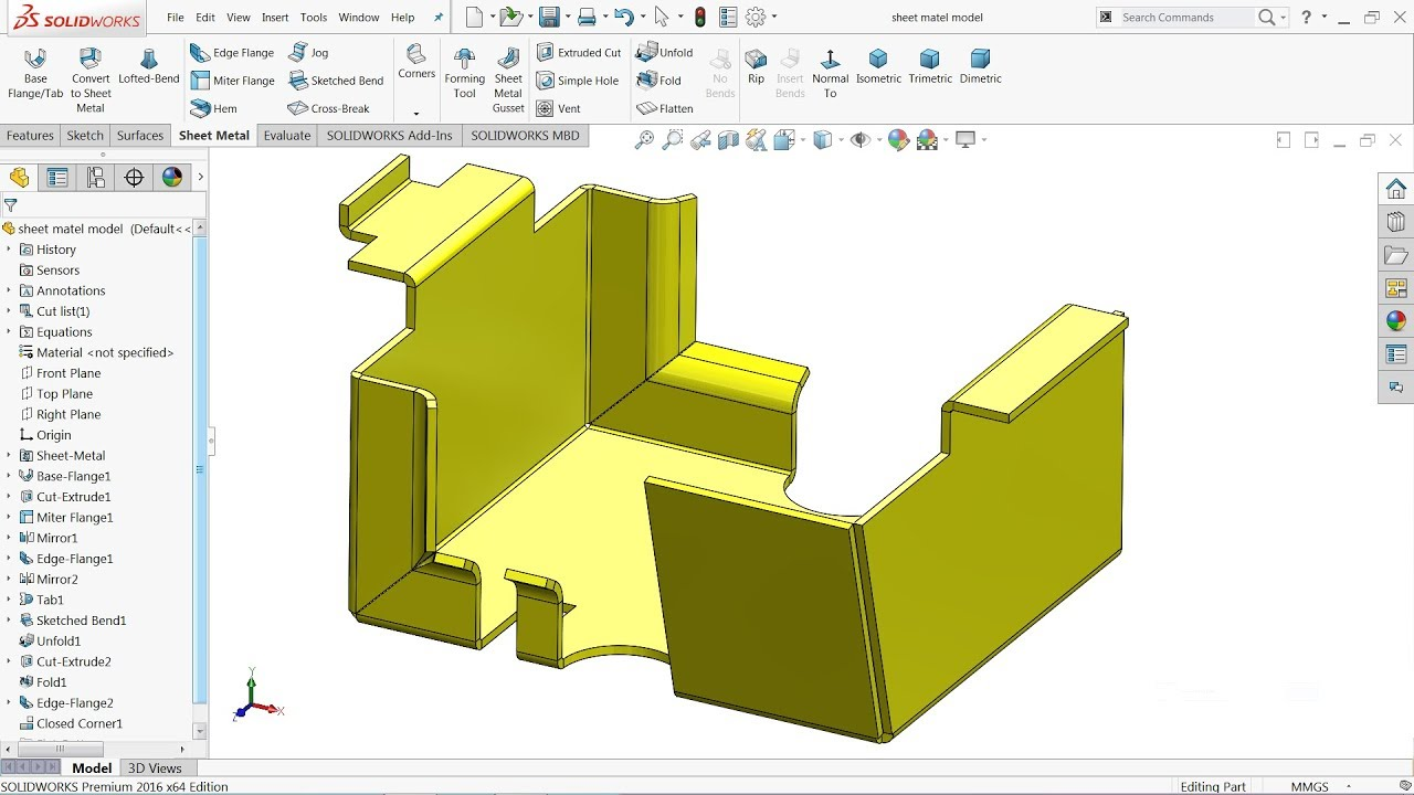 Solidworks Tutorial Basics Of Sheet Metal Youtube