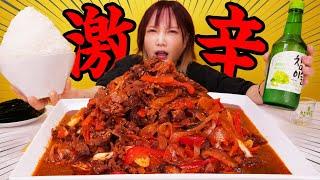 【大食い】激辛プルコギが辛ウマ!オンザライスして韓国のりで巻いて食べたら美味しすぎ[チャミスル 참이슬]5kg [10人前]9000kcal【木下ゆうか】