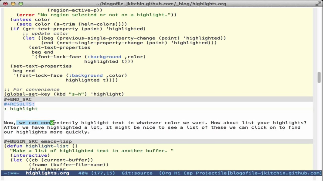 Highlighting text in Emacs
