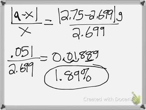 Percent Error Problems: Eureka Math 7th Grade Module 4