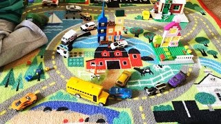 Toy Trucks and Cars Playtime unboxing Mellisa and Doug Road Rug