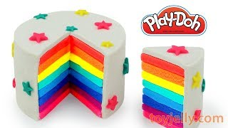 DIY How to Make Play Doh Rainbow Cake Modelling Clay Learn Colors with Playdoh Baby Toys for Kids