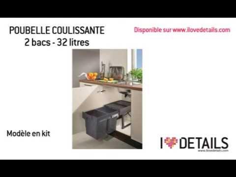 Montage poubelle coulissante en kit 2 bacs 32 litres youtube - Poubelle cuisine encastrable ...