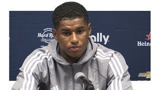 Marcus rashford pre-match press conference - manchester united v manchester city - man utd tour 2017