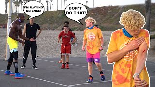 Body Builder Tripped Me! 5v5 Basketball At The Beach!