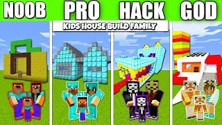 Minecraft Battle : HOUSE FOR KIDS FAMILY BUILD CHALLENGE - NOOB vs PRO vs HACKER Minecraft Animation