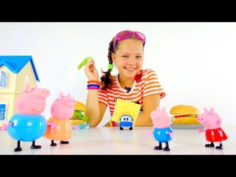 Готовим вместе с Настей! Гамбургер и Чизбургер для свинки Пеппы и ее семьи!