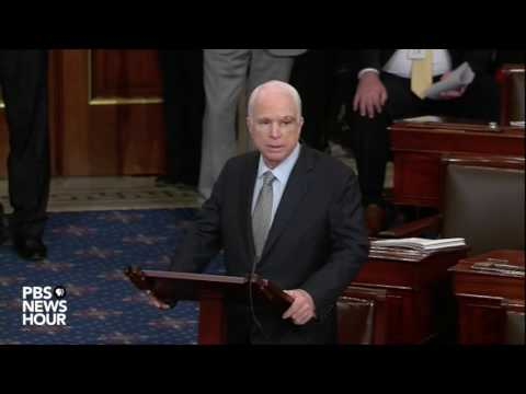 John McCain addresses the Senate after returning from cancer diagnosis