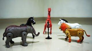 Mengenal Nama hewan dan suara Gajah, Singa, Kuda, Jerapah -  Mainan hewan bisa jalan