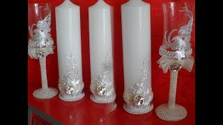 Wedding candle & glasses/Հարսանյաց մոմի եվ բաժակի ձեվավորում/Свадебные свечи и бокалы