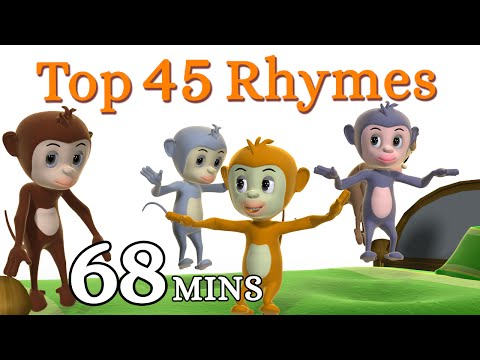 Five Little Monkeys Jumping On The Bed Nursery Rhyme - Kids