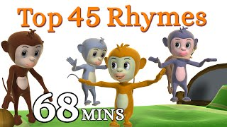 Five Little Monkeys Jumping On The Bed Nursery Rhyme - Kids Songs - 3D English Rhymes for Children