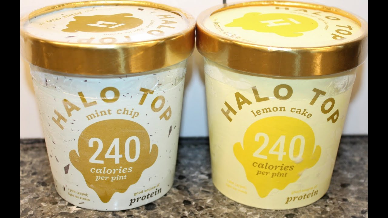 Halo Top Mint Chip Lemon Cake Ice Cream Review YouTube