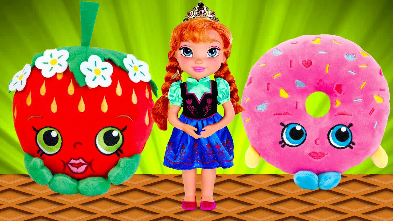 Shopkins surprise eggs and Frozen Anna Dance toys cartoon for