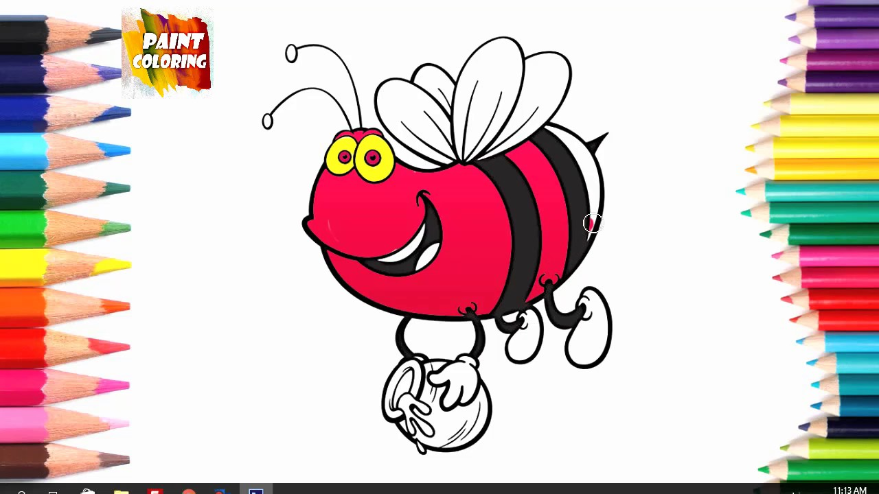 bees coloring pages for kids video how to draw bee coloring youtube