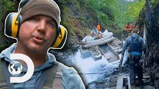 Miner Nearly Dies Winching Dredger Up Swollen River | Gold Rush: White Water